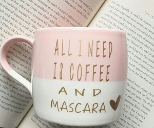 coffee, book, and mascara image