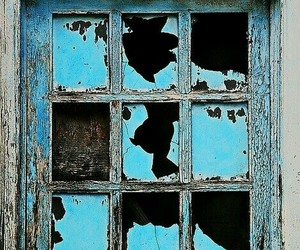 blue, rustic, and window image
