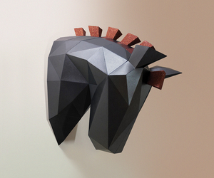 papercraft, wall decor, and horse head image