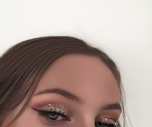 brows, eyeshadow, and glitter image