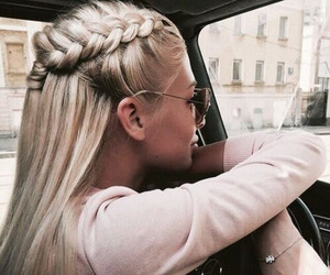 car, hair, and sunglasess image