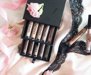 flowers, lace, and lipstick image