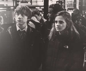 black and white, hermione granger, and rupert grint image