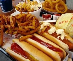 food, hotdog, and fries image