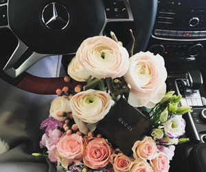 flowers, car, and gucci image