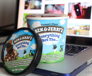 food, ice cream, and laptop image