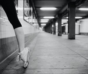 ballet, converse, and black and white image