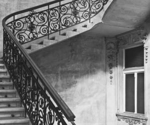 architecture, black and white, and stairs image