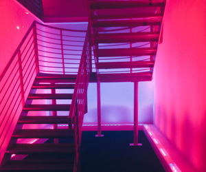 aesthetic, neon, and stairs image