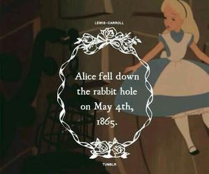 alice in wonderland, alice, and rabbit hole image