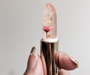 lipstick, flowers, and makeup image