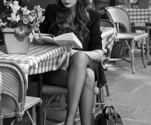 black and white, cafe, and reading image