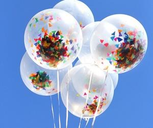 balloon, birthday, and confetti image