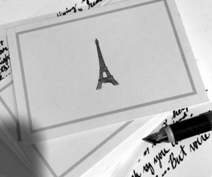 black and white, cursive, and paris image