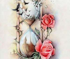 tattoo, bird, and rose image
