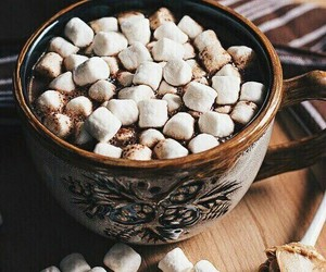 marshmallow, hot chocolate, and sweet image