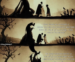 deathly hallows, invisibility cloak, and resurrection stone image