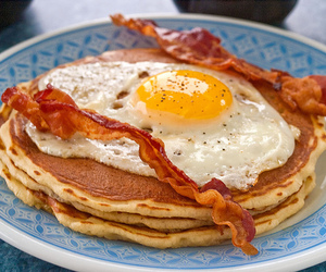 food, bacon, and pancakes image