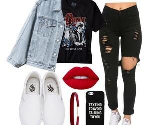 black ripped jeans, light blue denim jacket, and red matte lipstick image