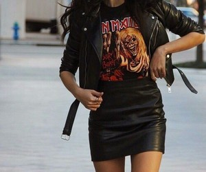 black leather jacket, long wavy black hair, and iron maiden t-shirt image