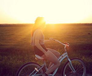 girl, bike, and sun image