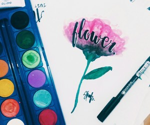 calligraphy, flower, and watercolor image