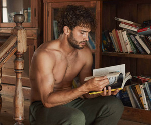 man, model, and book image