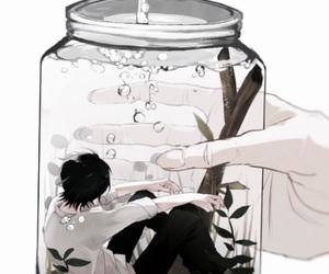水,男 and 瓶の中, image
