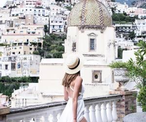 city, maxi dress, and white image