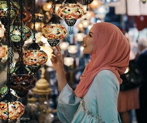 hijab, lights, and muslim image