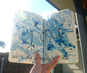 art, words, and blue image