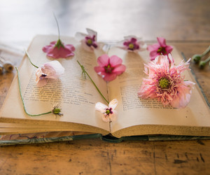 poppy, book, and flowers image