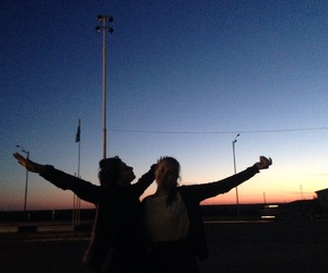 sunset, travelling, and friends image