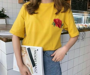 yellow, rose, and fashion image