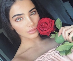 girl, rose, and beauty image