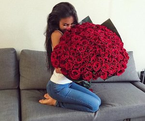 flowers, girl, and roses image