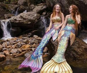 girls, mermaid, and ocean image