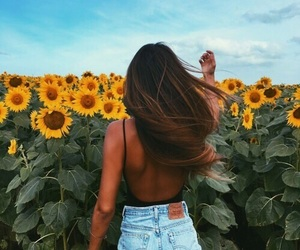 girl, flowers, and sunflower image