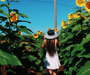 girl, nature, and dress image
