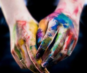 hands, color, and paint image