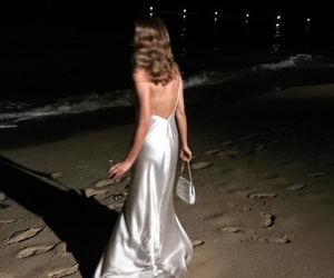 night, beach, and dress image