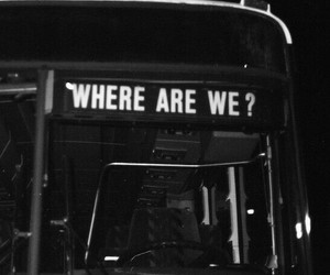 black and white, bus, and grunge image