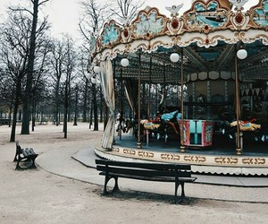 amusement park, carousel, and enjoy image