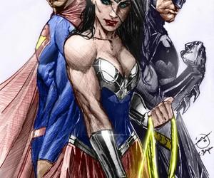 batman, wonder woman, and superman image