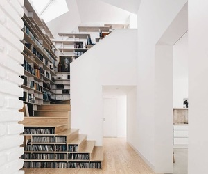 home, architecture, and bookshelf image