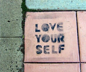 pink, quotes, and love yourself image