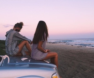 friends, beach, and summer image