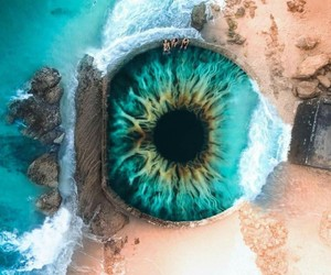 beach, blue, and eye image