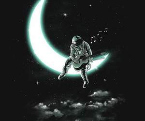 guitar, moon, and space image