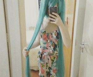 blue wig, cosplay, and japan image
